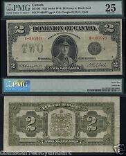 1923 Dominion of Canada $2 PMG25 Classic Canadian Large banknote DC-26l