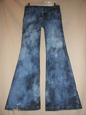 "BEBE USA S Bleach Denim Wide Leg 24"" Bell Bottom Flare Jeans Hippie 70's Raver"