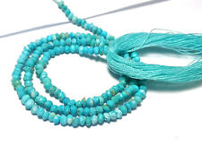 """AAA+ NATURAL INDIAN TURQUOISE 3-4MM ROUNDEL MICRO FACETED LOOSE BEADS 13"""" STRAND"""