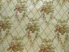 Antique French Roses Floral Cotton Tapestry Fabric ~Blush Rose Olive Peach Green