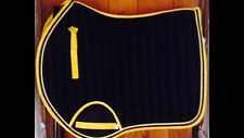 Quality Quilted Black With Yellow Edging And Rope Saddle Pad - Size Cob