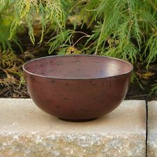 COUNTRY PRIMITIVE FARMHOUSE KITCHEN DISTRESSED BURGUNDY WOOD BOWL SHABBY CHIC