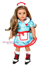 "Retro Carhop Waitress Dress Outfit + Skates for 18"" American Girl Doll Clothes"