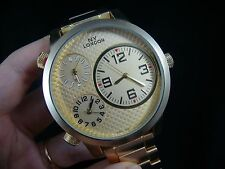 NY London Men's Crossroads Three-Time-Zone 3 time zone Gold Watch 9420-62625348