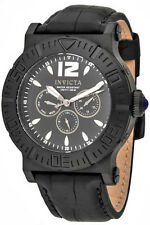 New Mens Invicta 14918 Specialty Multi Function Black Dial Black Leather Watch