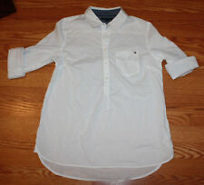 NEW Womens TOMMY HILFIGER Tunic Roll Tab Sleeve Shirt CLASSIC WHITE Sz M Medium
