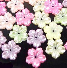 50 Mixed Color 5-Petal AB Acrylic Bead Caps 13x12mm