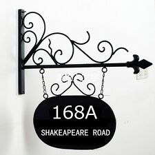 Rustic vintage House Number Sign Address Plaque Wrought Iron Wall Bracket custom