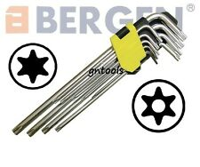 Bergen 1514 9PC Extra Long Tamperproof Hollow End Torx Torque Key Set T10 To T50