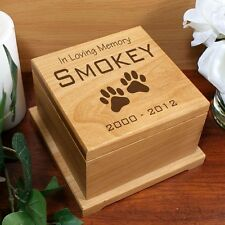 """""""In Loving Memory"""" Paws Wooden Pet Urn - Personalized Memorial Wood, Cat or Dog"""