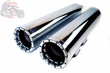 "Chrome Slip-on Mufflers Chrome Vortex Tip 4.5"" Exhaust Harley Touring Bagger FLH"