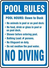 "Pool Rules hours swimming NO DIVING warning safety 8"" x 12"" Aluminum Sign USA"