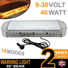 40w LED Warning Light Bar Beacon Amber Recovery Strobe 12v or 24v Magnetic