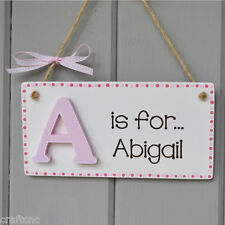 Baby girl nursery door plaque, Capital letter and childs name on sign in Pink.