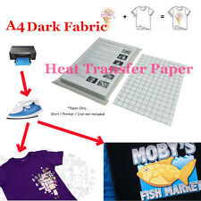 T-Shirt Inkjet Iron-On Heat Transfer Paper For Dark Fabric, A4 11.7 x 8.3 in