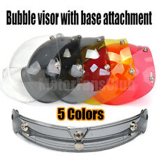 Universal Bubble Style 3-Snap Motorcycle Helmet Visor Flip Up Face Shield Lens