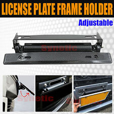 Universal Adjustable Black Carbon Fiber License Plate Frame Holder Mount Bracket