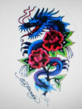 "ED HARDY BLUE DRAGON AND RED ROSE TATTOO STICKER 4 1/4"" X 6 1/2"" OVAL NEW"