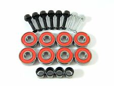 "8 pc ABEC 7 ABEC 9 Skateboard 608 Bearings + Spacers + 1"" Hardware, Multi Colors"