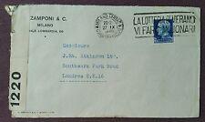 ITALIA 1939 commerciale Copertina CENSURATA da Milano a Londra, slogan della Lotteria Annulla