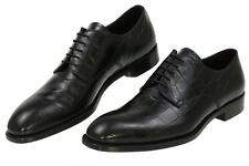 NEW PRADA MILANO BLACK CROCO EMBOSSED LEATHER OXFORD LACE-UP SHOES 9/US 10