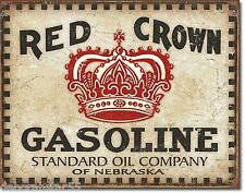 Red Crown Gasoline Oil Gas Large Vintage Rustic Garage Metal Tin Sign New 2074