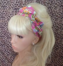Pink candy sugar skull print Bendy Fil twist hair head band rétro rockabilly