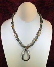 Silpada Sterling Silver Teardrop Pendant Howlite Pearl Shell Necklace N1786