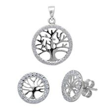 Tree of Life Cubic Zirconia .925 Sterling Silver Earring & Pendant Set