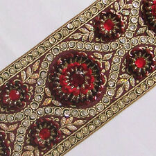 "Hand-Beaded Jacquard Ribbon Trim. Burgundy, Gold, Red, Silver Sequins 3¾"" wide"