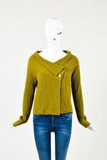 Max Mara Olive Green Wool Cashmere Knit Cardigan Sweater SZ M