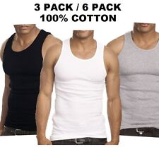 New Mens LOT Of 6 3 Tank Top 100% Cotton A-Shirt Wife Beater Ribbed Undershirt