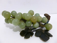 JADE CHINESE CARVED JADE JADEITE GREEN GRAPE BUNCH  D.GREEN STONE LEAVES 5312