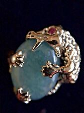 Vintage 14K Yellow Gold Dragon Ring w/Jade Stone & One Ruby Eye size 6 1/4