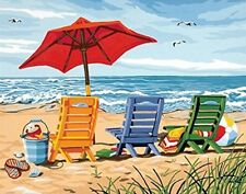 Beach Chair Trio Paint By Number DIY Kit Painting High Quality Acrylic Art Gift