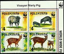 Philippines 1997 Endangered Spotted Deer & Warty Pig set with WWF Panda Logo MNH