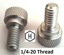 """1/4-20 x 1/2"""" Knurled Thumb Screw 10-Pack - Aluminum Silver Anodized Finish"""