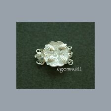 .925 Sterling Silver Flower 3-str Box Clasp 14mm #51141