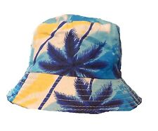 Mens Womens Blue Yellow White Palm Bucket Hat Cotton Fishing Camping Cap Boonie