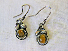 Lovely pair of sterling silver Earrings w Tiger's Eye cabs.
