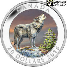 2015 'The Wolf' Colorized Proof $20 Silver Coin 1oz .9999 Fine (14073)