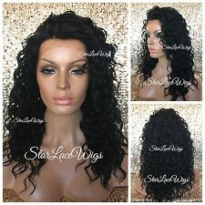 Lace Front Wig Curly Wavy Layered Medium Length Jet Black #1 Heat Safe Ok