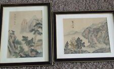 Pair of Vintage c.1950 Chinese Watercolor Landscape Paintings on Silk Asian