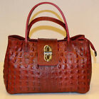 Borsa donna Bag leather in vera pelle bovina rosso con stampa coccodrillo rossa