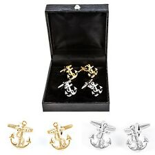 Anchor 2 Pairs of Cufflinks Navy Boating Wedding Fancy Gift Box Free Ship USA
