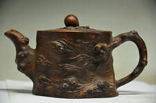 DELICATE CHINESE ROCK STONE HAND CARVED TEAPOT