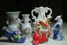 lot old collection miniature vases bird figuine  chinese fish victorian shoe