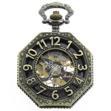 Antique Bronze Big Number Hand wind Octagon Mechanical Pocket watch with Chain