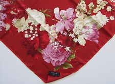 "VALENTINO Silk Scarf ""Red Floral & Berries"" NWOB 34"""