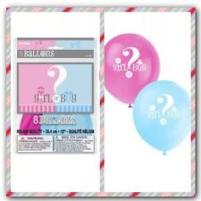 Baby Shower Pkt 8 Balloons Gender Reveal Boy or Girl Decorations Party Supplies